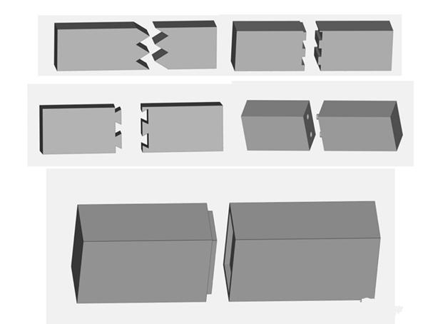 拼接时可以添加三角形,长方形,锯齿,凸台和销型进行定位连接,采用ab胶